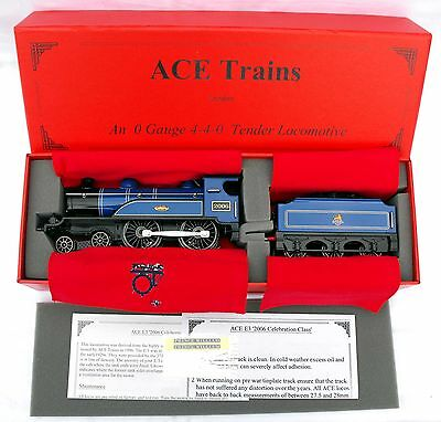 """ACE Trains E3 """"0"""" gauge 3-Rail Electric 4-4-0 Tender Loco in BR Blue - Boxed"""