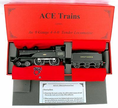 """ACE Trains E3 """"0"""" gauge 3-Rail Electric 4-4-0 Tender Loco SOUTHERN Black- Boxed"""