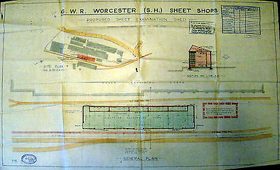 G.W.R.1925 Worcester Proposed plan layout for Shed and Shops. VERY RARE!!