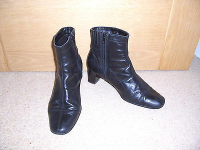 Ladies Clarks Black Leather Ankle Boots Size 6