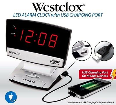 NEW Electric LED Alarm Clock Snooze With USB CHARGING Digital Red Display Gift