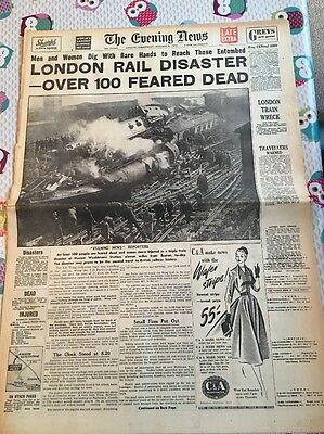 The Evening News Wednesday, October 8, 1952  London Rail Disaster