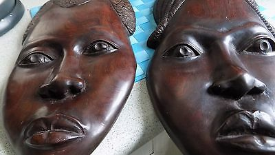 VINTAGE PAIR Large HAND CARVED AFRICAN DARK WOOD WALL/FACE MASKS