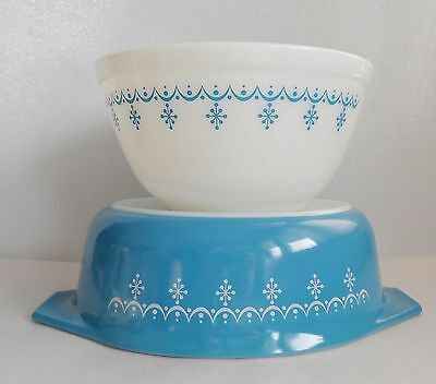 Pyrex Snowflake Blue 043 Casserole - No Lid And 402 Bowl