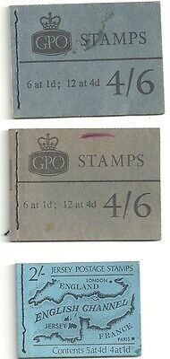 GB pre-decimal stitched stamp booklets (part-used) x3