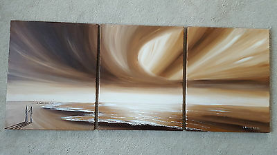 Pete Rumney 'Perfect Morning',authentic original. 3 parts oil on canvas painting