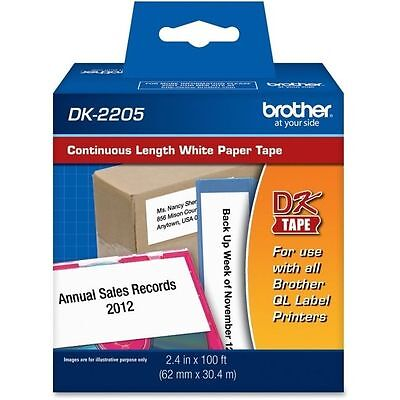 Brother DK-2205 Continuous Length White Paper Tape - All QLLabel 2.4 in X 100 ft