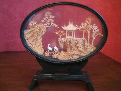 Vintage Chinese Cork Handcrafted Picture In Oval Frame Under Glass