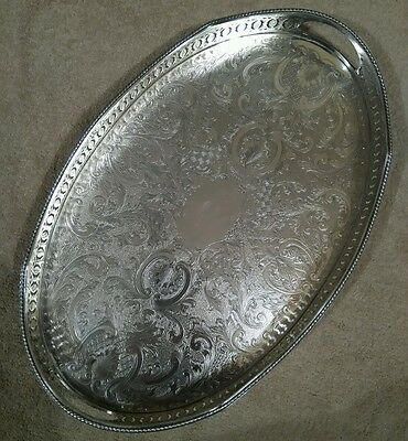 VINTAGE Silver Plated on Copper Oval Chased Footed Gallery Drinks Serving Tray