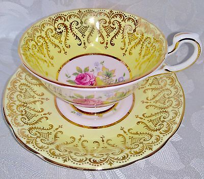 PARAGON Vintage Bone China Cabinet Tea Cup and Saucer Duo Yellow Gold Floral