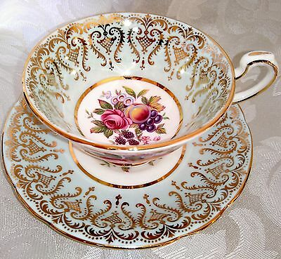 PARAGON Vintage Bone China Cabinet Tea Cup and Saucer Duo Pale Blue Gold Floral
