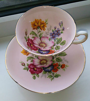 ROYAL GRAFTON Vintage Bone China Tea Cup and Saucer Duo Pink Gold Flowers 2 of 2