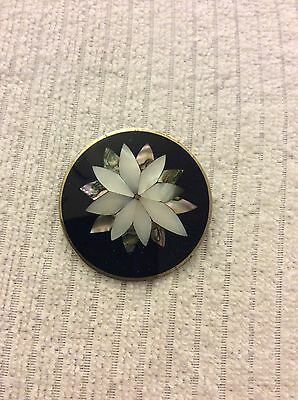 Large Vintage Mother Of Pearl Inlay Flower Brooch