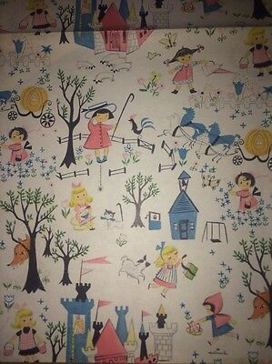 Vintage 1950's FAIRY TALES Wrapping Paper AMAZING !! Birthday, present,