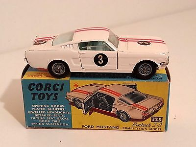 CORGI TOYS 325 FORD MUSTANG FASTBACK 2+2 COMPETITION MODEL c/w BOX. ALL ORIGINAL