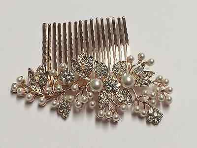 Beautiful Vintage Style Crystal & Pearls Rose Gold Bridal Hair Comb.