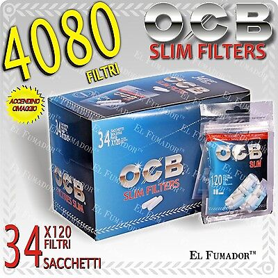 4080 FILTRI OCB SLIM 6mm in BAG - Box 34 BUSTINE da 120 pezzi - LISCI in BUSTA