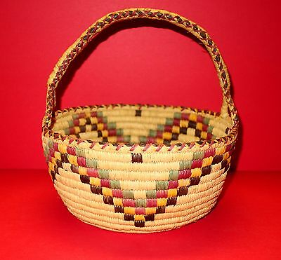 Native American Indian Large Polychrome Basket With Handle