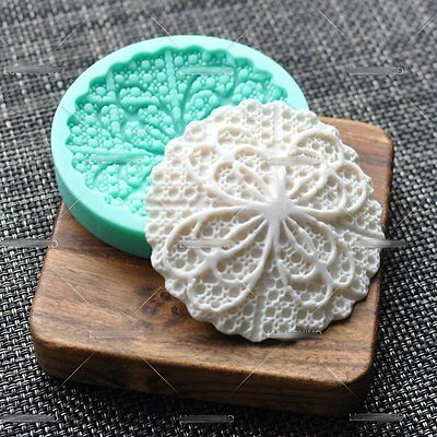 Flower round Lace Cupcake Top Decoration Silicone Fondant Mold Cake pastry tool