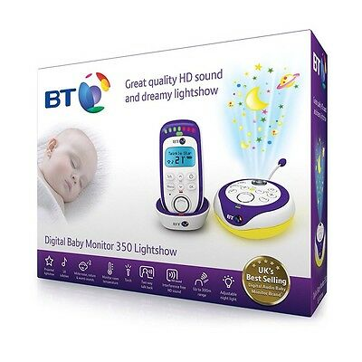 BT Digital Baby Monitor 350 Lightshow Great HD Sound with 18 Lullabies Brand New