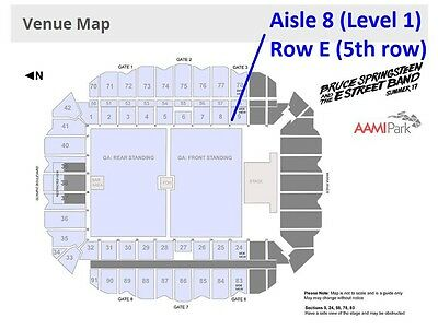 BRUCE SPRINGSTEEN HARDCOPY ticket-Lvl 1 Aisle 8 CLOSE TO STAGE 5th ROW Melbourne