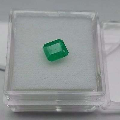 0.89 Cts Square Facet Green Emerald Natural Brazilian Loose Gemstone