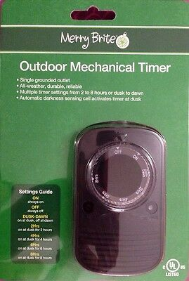 Merry Brite Outdoor Mechanical Timer ~ Single Grounded Outlet All Weather New!