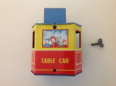 RARE VINTAGE Clockwork Tin plate Cable car Made in England