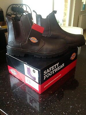 MENS Brown DICKIES CHELSEA Steel Cap Safety Boots Size 9. Brand New in Box