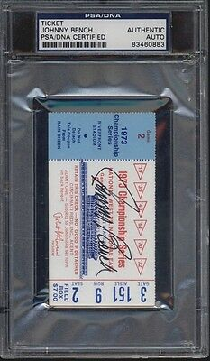 JOHNNY BENCH SIGNED 1973 CHAMPIONSHIP SERIES TICKET GAME 2 PSA/DNA Reds AUTO HOF
