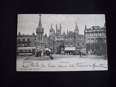 Vintage Postcard, Peterborough, The Market Place. 1904,Trams and People