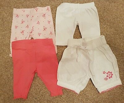 4 X Pairs Of Baby Girl Trousers - First Size / Newborn - Cute Adorable Next