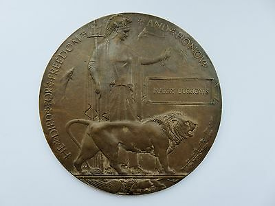 WW1 World War One Bronze Death Penny / Plaque in Memory of - Harry Burrows