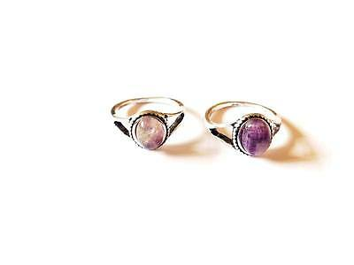 Womans Silver Stone Ring Pattern Jewellery indie Edgy Vintage Amethyst Purple