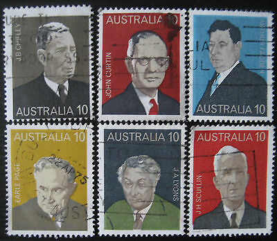 Famous Australian Prime Ministers set of 6 stamps from 1975, SG 590-595