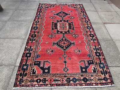 Old Hand Made Traditional Persian Oriental Wool Red Pink Large Rug 255x140cm