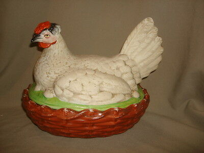 Large 11 INCH Antique Staffordshire Pottery Chicken Hen on Nest Tureen
