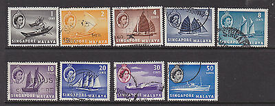 Nine stamps of Singapore 1955