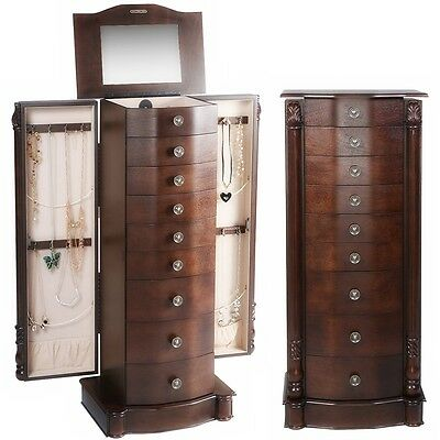 Jewelry Cabinet Storage Box Armoire Chest of Drawers Stand Organizer Necklace
