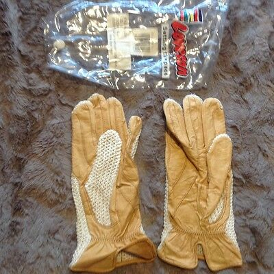 loveson beige leather crochet cotton riding glove size large brand new