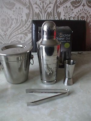 Vintage Retro Style Boxed 5 Piece Cocktail Shaker Bar Set Stainless Steel