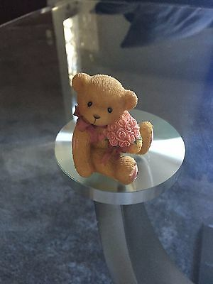 Cherished Teddies Bear With Bunch Of Pink Roses