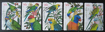 Australian Parrots set of 5 used stamps from 2005, SG 2484-2488