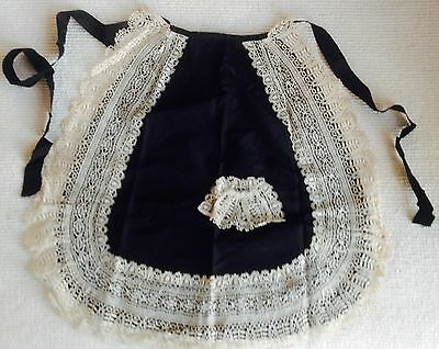 Vintage Black Silk Lace Trimmed Small Apron