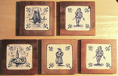 "Set of 5 Awesome 2"" Small DELFT Blue & White Tiles FRAMED in WOOD"