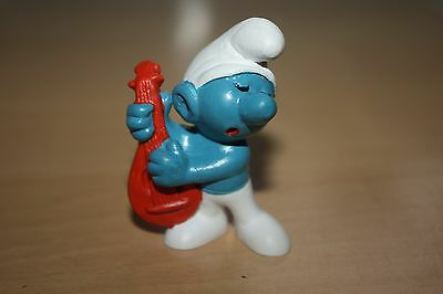 Guitar Red  Smurf  W.Germany 2.0013 Schtroumpfe Schlumpfe  Puffi