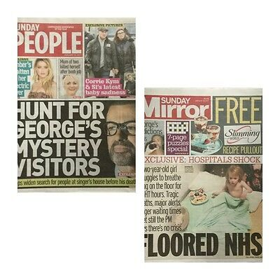 GEORGE MICHAEL - 2 Newspapers - Sunday People - Daily Mirror - 15 January 2017