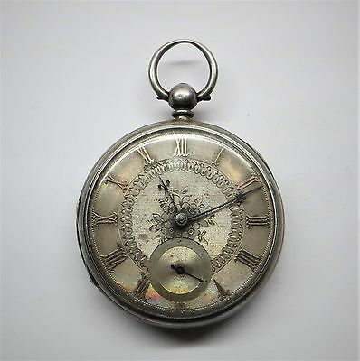 Antique 1865 Silver Face  Fusee Pocket Watch