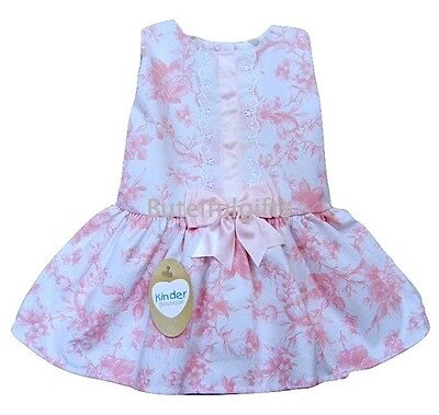 Girls Spanish Style Rose Print Pink Bow Dress 3-24 Mth 2-3 3-4 Year CHECK SIZING