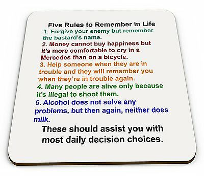 5 Rules To Remember In Life - Funny Quality Square Wooden Coaster